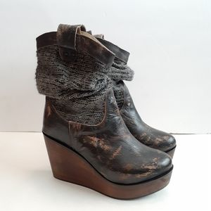 Bed Stu Bruges Slouch Knit Wedge Boots Size 6